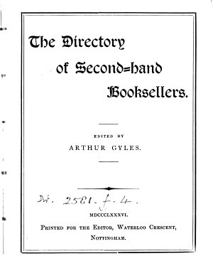 The Directory  afterw   The International directory of second hand booksellers  by A  Gyles  J  Clegg   PDF