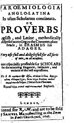 Paroemiologia Anglo Latina  etc   The epistle to the reader signed  John Clarke
