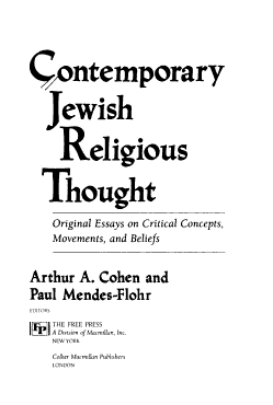 Contemporary Jewish Religious Thought PDF