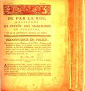 De par le Roi, messieurs les Prévôt des Marchands et Echevins... Ordonnance de police qui enjoint à tous bouchers de la ville, fauxbourgs & banlieue de Lyon, de se fournir, avant le quinze mai prochain, ou au plus tard, de balances, dont les coupes seront en fer battu ou en fer blanc... du 13 mars 1788