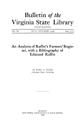 An Analysis of Ruffin's Farmers' Register: With a Bibliography of Edmund Ruffin