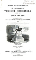 Memoirs and Correspondence of Field Marshal Viscount Combermere  G  C  B   Etc   from His Family Papers PDF