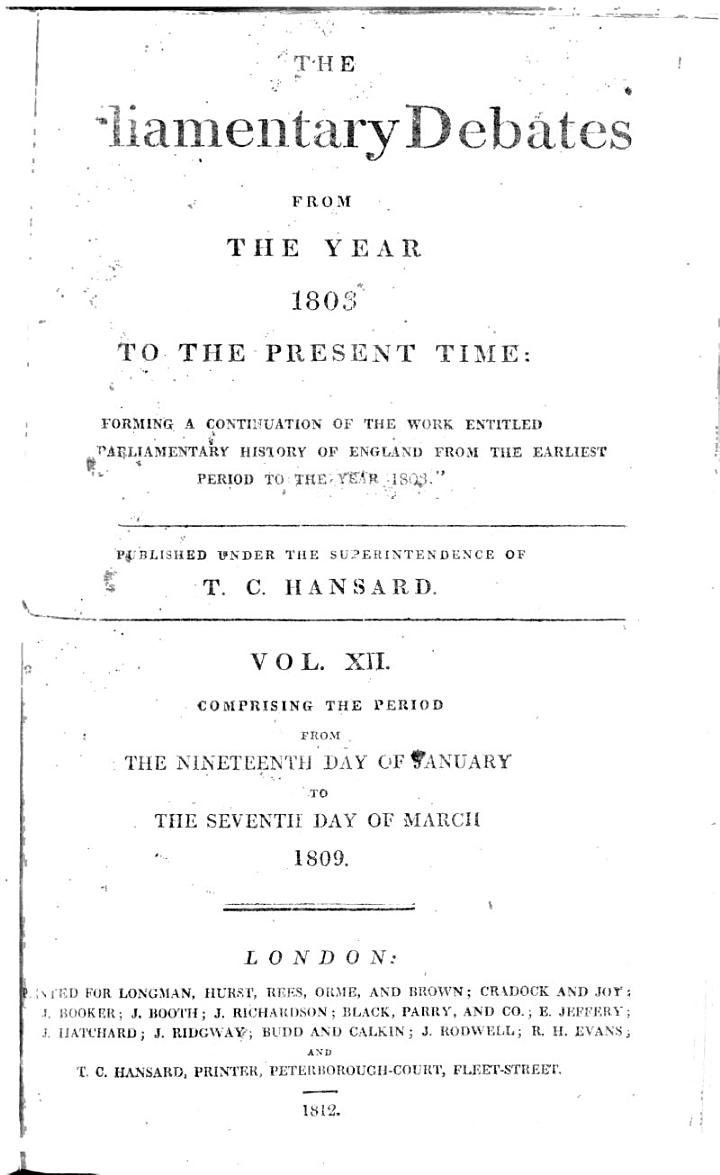 Cobbett's Parliamentary Debates, During the ... Session of the ... Parliament of the United Kingdom of Great Britain and Ireland and of the Kingdom of Great Britain ...