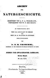 Archiv für Naturgeschichte: Band 27