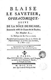 Blaise le savetier: opera-comique