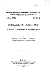 Mistake in Contract: A Study in Comparative Jurisprudence