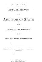 Annual Report of the Auditor of State  to the Legislature of Minnesota  for the Fiscal Year Ending     PDF