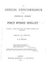 A Lexical Concordance to the Poetical Works of Percy Bysshe Shelley PDF