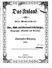 Das Inland: eine Wochenschrift für d. Tagesgeschichte Liv-, Esth- u. Kurlands, Band 20