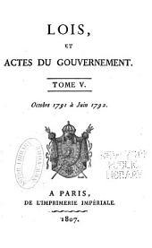 Lois, et actes du gouvernement ... Août 1789 [à 18 Prairial an II]: Volume5