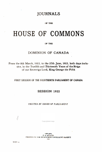 Journals of the House of Commons of the Dominion of Canada