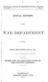 Public Laws and Resolutions Passed by the Philippine Commission