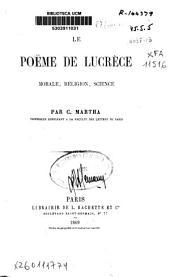 Le poëme de Lucrèce: morale, religion, science