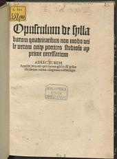 Opusculum de syllabarum quantitatibus, non modo utile, verum cuique poetices studioso apprime neccessarium