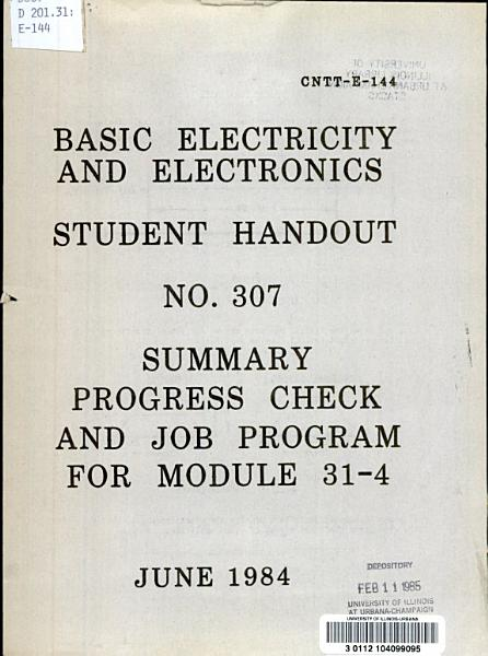 Basic Electricity and Electronics Student Handout No  307 PDF