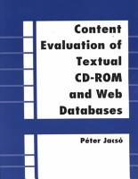 Content Evaluation of Textual CD ROM and Web Databases PDF