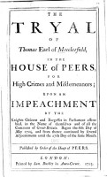 The Tryal of Thomas Earl of Macclesfield  in the House of Peers  for High Crimes and Misdemeanors PDF
