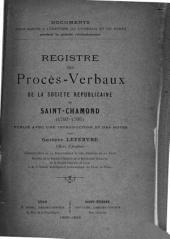 Registre des procès-verbaux de la Société républicaine de Saint-Chamond