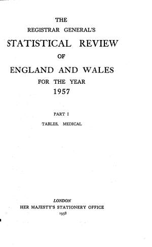 The Registrar General s Statistical Review of England and Wales for the Year     PDF