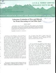 Laboratory Evaluation Of Wax And Silicone For Water Harvesting On Coal Mine Spoil Book PDF