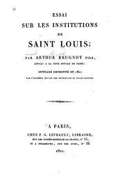 Essai sur les institutions de saint Lois