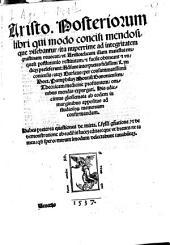 Posteriorum libri qui modo concili mendosique visebantur