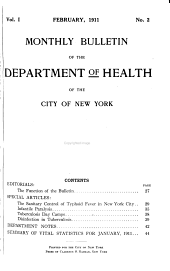 Monthly Bulletin of the Department of Health in the City of New York: Volumes 1-2