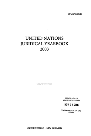 United Nations Juridical Yearbook PDF