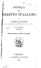 Storia del diritto italiano: Volume 1