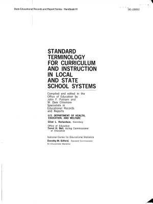 Standard Terminology for Curriculum and Instruction in Local and State School Systems