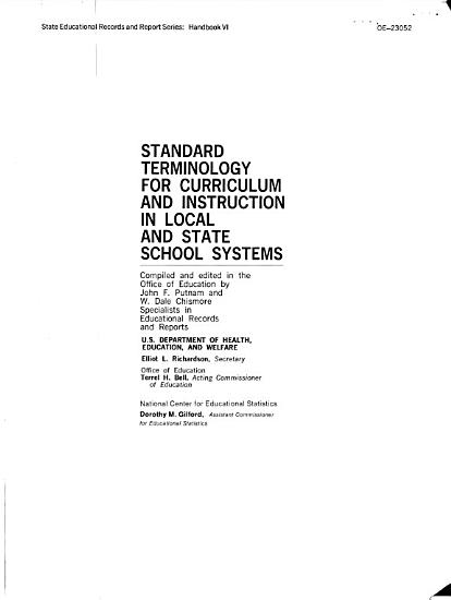 Standard Terminology for Curriculum and Instruction in Local and State School Systems PDF