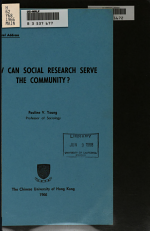 How Can Social Research Serve the Community?