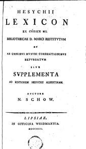 Hesychii Lexicon ex codice Ms. bibliothecae D. Marci restitutum