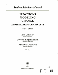 Student Solutions Manual to accompany Functions Modeling Change  2nd Edition