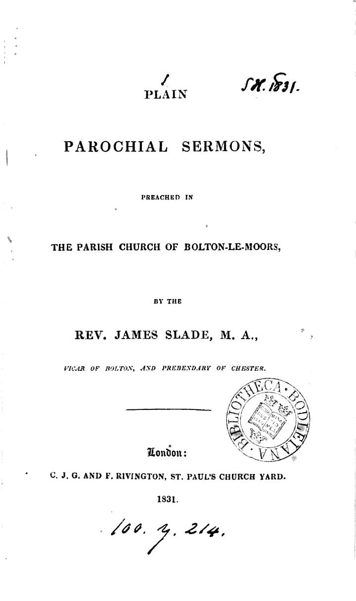 Plain parochial sermons, preached in the parish church of Bolton-le-Moors