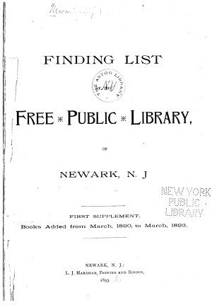 Finding List of the Free Public Library of Newark  N J