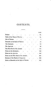 Tacitus: Germania, Agricola, and First Book of the Annals, with Notes and Bötticher's Remarks on the Style of Tacitus