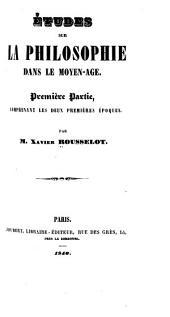 Études sur la philosophie dans le moyen-âge: Volume1