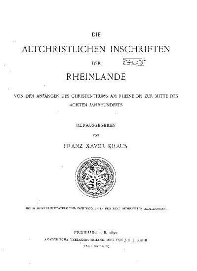 Die christlichen inschriften der Rheinlande PDF
