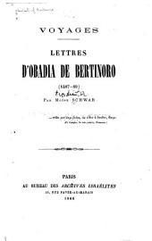 Voyages: Lettres d'Obadia de Bertinoro, 1487-89