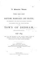 Early Records of Dedham  Massachusetts PDF