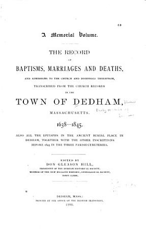 Early Records of Dedham  Massachusetts PDF