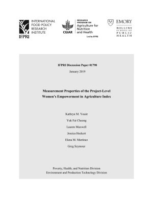 Measurement properties of the Project Level Women   s Empowerment in Agriculture Index PDF