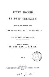 Devout Thoughts By Deep Thinkers Selected From The Portfolio Of The Record By S Coalbank Book PDF