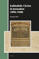 Kabbalistic Circles in Jerusalem  1896 1948  PDF