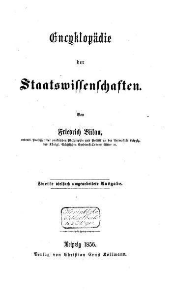 Encyklop  die der Staatswissenschaften