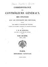 Correspondance des contrôleurs généraux des finances avec les intendants des provinces, publiée par ordre du ministre des finances d'après les documents conservés aux Archives nationales: 1699 à 1708