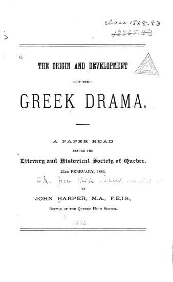 The Origin and Development of the Greek Drama PDF