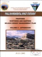 Proposed Northern and Eastern Mojave Desert Management Plan PDF