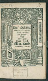 Der Gesang Simeonis oder Nunc dimittis